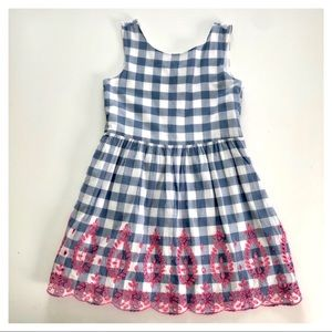 Gingham Print Eyelet Trim Dress